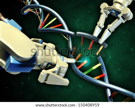 Two robotic arms modifying a dna helix. Digital illustration. - stock photo