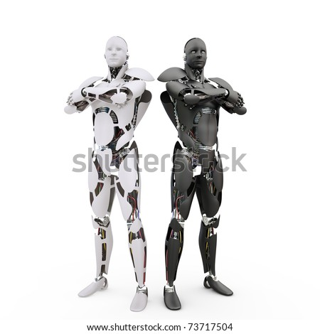 Two robots are standing together on a white background