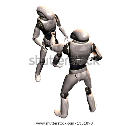 two robots converse - stock photo