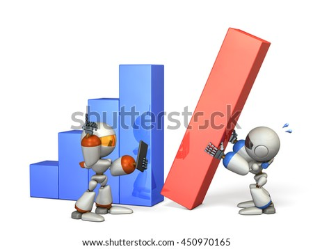 Two robots gave good results in cooperation. 3D illustration - stock photo