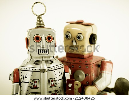 two robots in love - stock photo