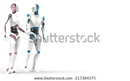 Two robots in love holding hands with white background  - stock photo