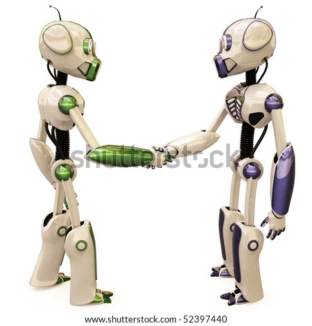 two robots shake hands. isolated on white - stock photo