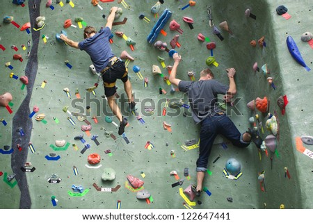 Two Rock Climbers - stock photo