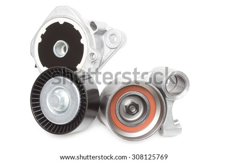 Two roller belt car engine isolated on white background - stock photo