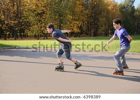 two rollers in the motion - stock photo