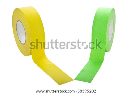 two rolls of gaffers tape isolated on white - stock photo