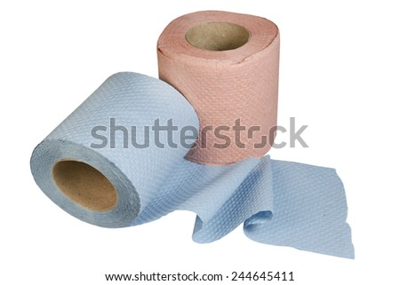 Two rolls of toilet paper on a white background - stock photo