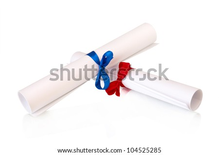 two rolls white paper  with ribbons isolated on white - stock photo