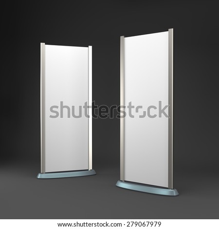two rollups or banners on dark background - stock photo