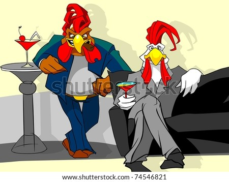 Two roosters with  cocktails.