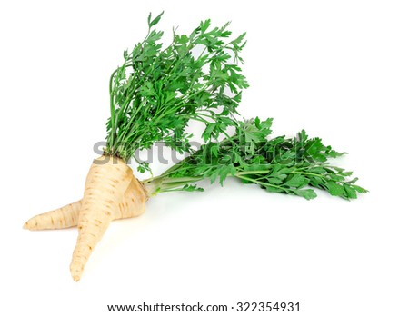two roots of parsley on a white background