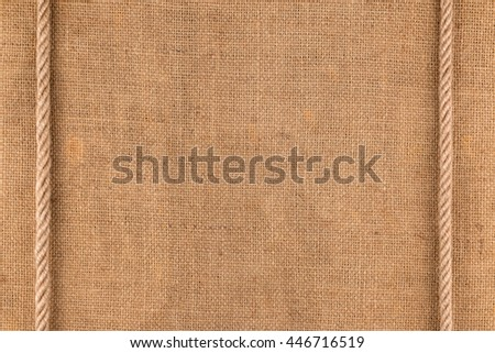 Two ropes lying on a sackcloth, can be used as background, texture