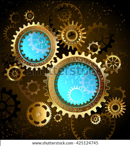 two round mechanical banners blue glass with brass and gold gears . Design with gears. Technical Design. Gold gear. - stock photo