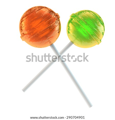 two round multi-colored lollipops - stock photo