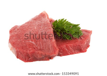 Two round steaks on a white background  - stock photo