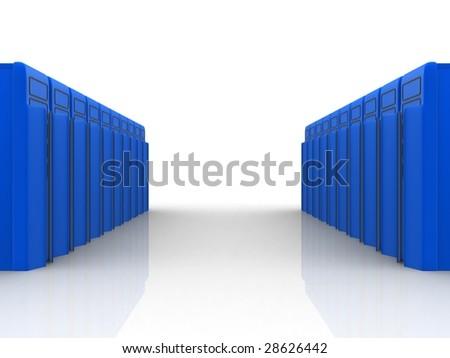 Two rows of blue servers - stock photo