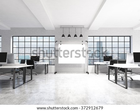 Two rows of computer tables in a light modern open space office, a big blank screen on the wall between the windows with Paris view, four lamps over it. Front view. Concept of work. 3D rendering. - stock photo