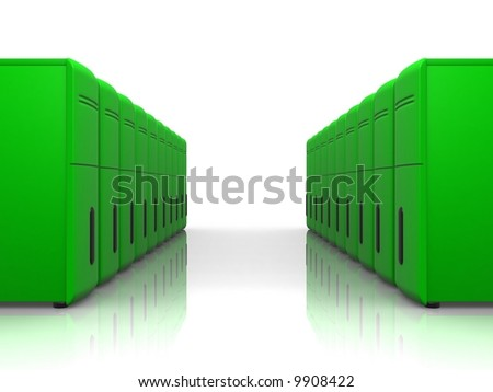 two rows of green servers - stock photo