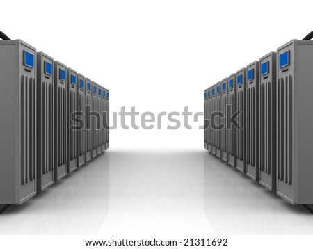 two rows of grey servers - stock photo