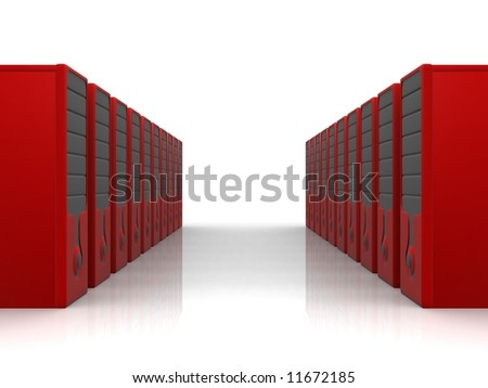 two rows of red servers - stock photo