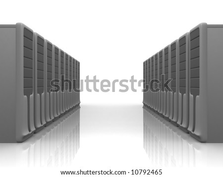 two rows of silver server - stock photo
