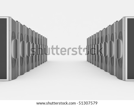 Two rows of silver servers - stock photo