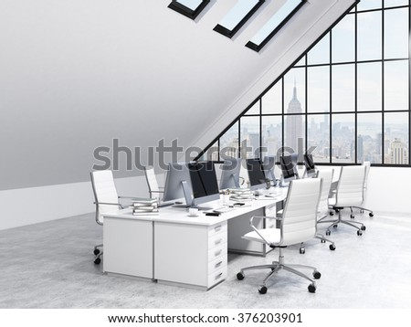 Two rows of tables leading to the panoramic window in an office in an attic. Computers and stuff on them, white chairs. NYC view. Concept of a modern office. 3D rendering - stock photo