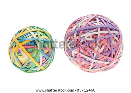 Two rubber band balls, side by side, different in color and size, isolated on a pure white background.