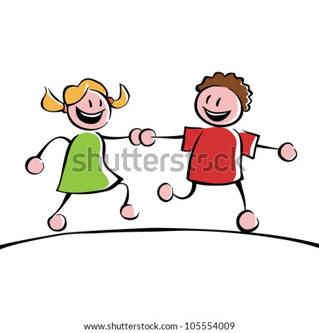 Two running kids (boy and girl) holding hands - stock photo