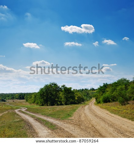 two rural roads go to horizon under cloudy sky - stock photo