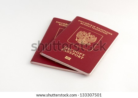 Two russian passports on white background - stock photo