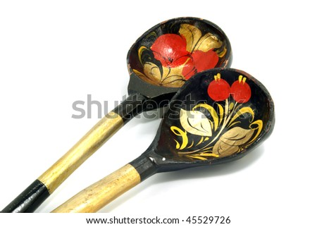 two russian wooden spoons on white background - stock photo