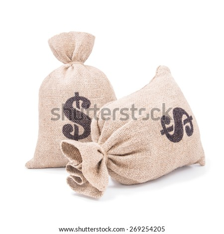 Two sacking money bags with dollar symbol print tied with a string isolated on white background - stock photo