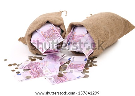 Two sacks with euro and coins. Isolated on a white background. - stock photo