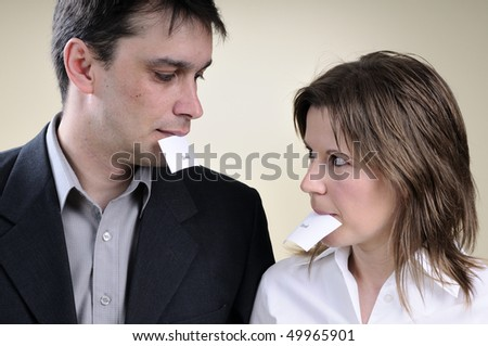 two sad collegues - stock photo
