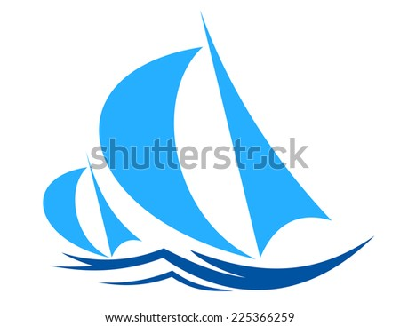 Two sailboats or yachts racing on ocean waves with billowing sails in shades of blue in a nautical theme for sports or travel design