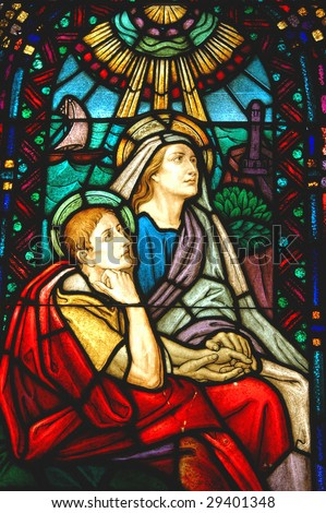 Two Saints on a Stained Glass Window - stock photo