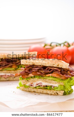 Two sandwich on wrapping paper back ground has tomatoes and dishware - stock photo