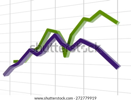 two schedules showing a situation in the global market (growth and falling) - stock photo