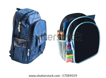 two school backpacks is isolated on white - stock photo
