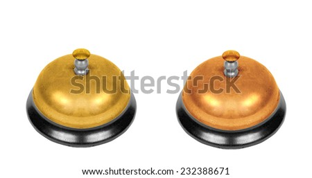 two school bells isolated - stock photo