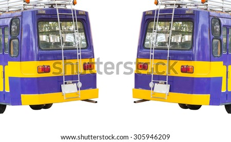 Two School Bus on isolated White background, with Clipping path - stock photo