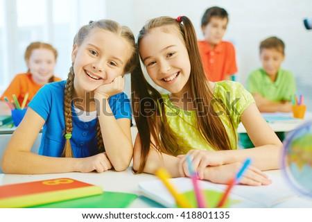 Two schoolgirls - stock photo