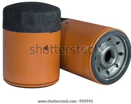 Two Screw-on Type Oil Filters For a car - stock photo