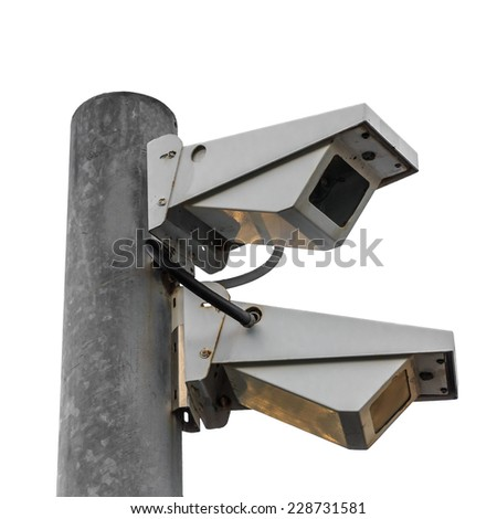 Two Security Cameras, CCTV on location isolated on white background. - stock photo
