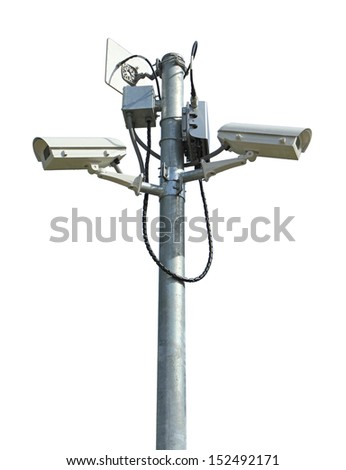 Two security cameras isolated on white background - stock photo