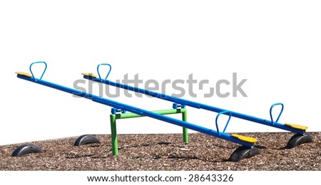 Two See Saws isolated with clipping path - stock photo