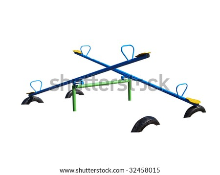 Two See Saws isolated with clipping path. - stock photo
