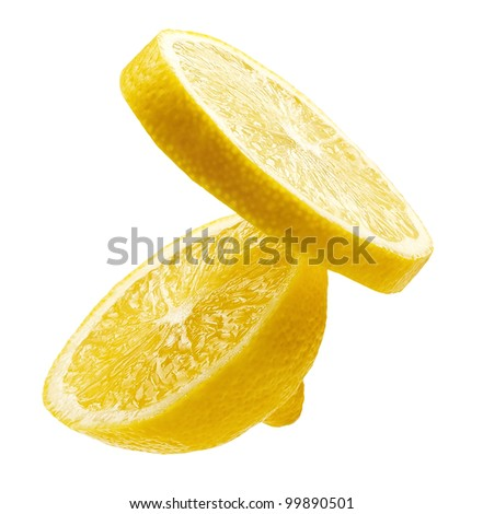 two segments of a fresh lemon isolated on white background - stock photo